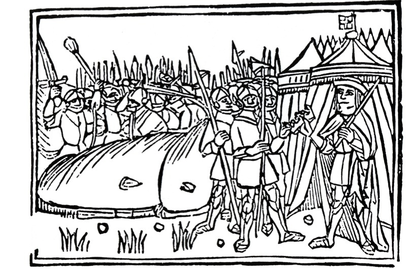 BFR1JJ BATTLE OF FLODDEN FIELD 1513- Contemporary illustration shows King James IV ceding his crown after being defeated