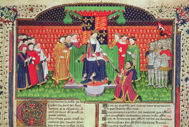 BL53282 Roy 15 E VI f.405 Henry VI enthroned gives Shrewsbury the sword as Constable of France, from Poems and Romances etc in French, a present to Margaret of Anjou, wife of Henry VI from John Talbot, 1st Earl of Shrewsbury, 1445; British Library, London, UK; © British Library Board. All Rights Reserved; PERMISSION REQUIRED FOR NON EDITORIAL USAGE;  it is possible that some works by this artist may be protected by third party rights in some territories