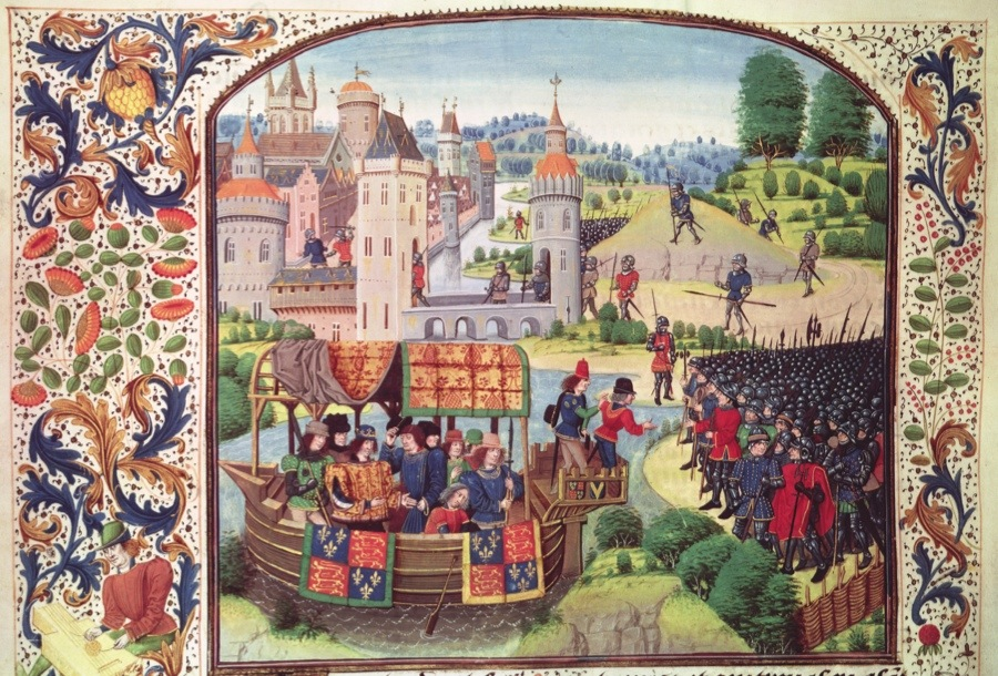 BNP165112 Ms Fr 2644 fol.154v The Tower of London, from Froissart's Chronicle (vellum) by French School, (15th century); Bibliotheque Nationale, Paris, France; French,  out of copyright