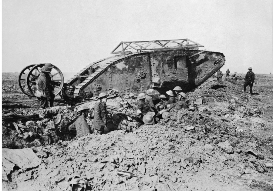 Ministry Of Information First World War Official Collection, Mark I 'Male' Tank of 'C' Company that broke down crossing a British trench on its way to attack Thiepval on 25 September 1916 during the Battle of the Somme. (Photo by Lt. E Brooks/ IWM via Getty Images)