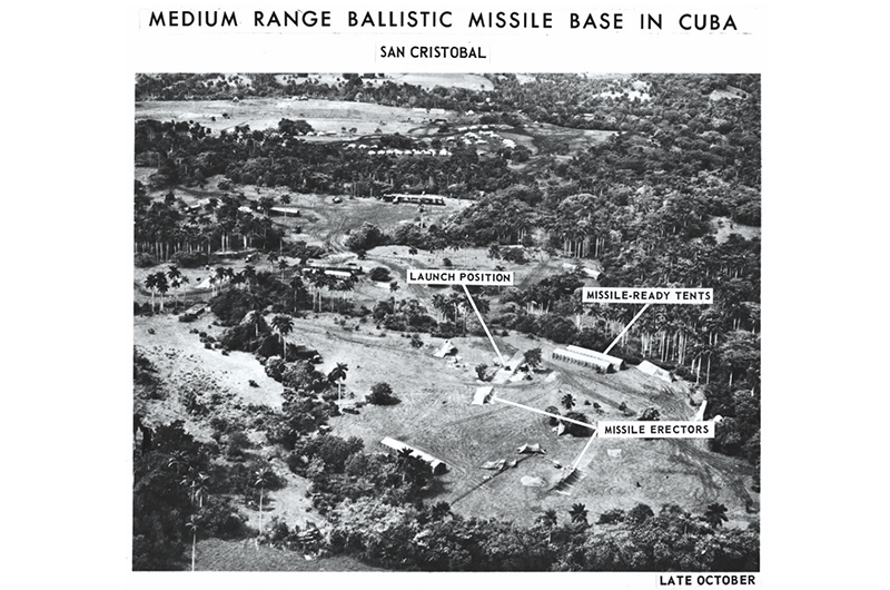 October 1962:  Aerial spy photos of a medium range ballistic missile base with labels detailing various parts of the base during the Cuban Missile Crisis, San Cristobal, Cuba.  (Photo by Hulton Archive/Getty Images)