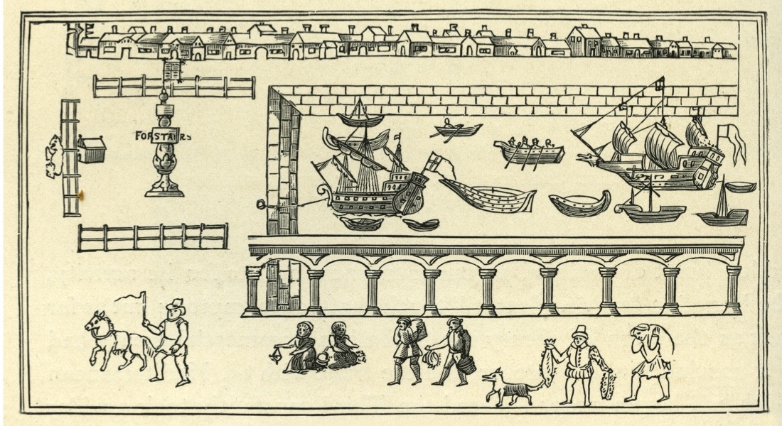 Billingsgate, London, pictured in 1598. Billngsgate is a ward in London on the north side of the River Thames, between Tower and London Bridge. In 1666 the Great Fire of London began here in Pudding Lane. (Photo by Culture Club/Getty Images)