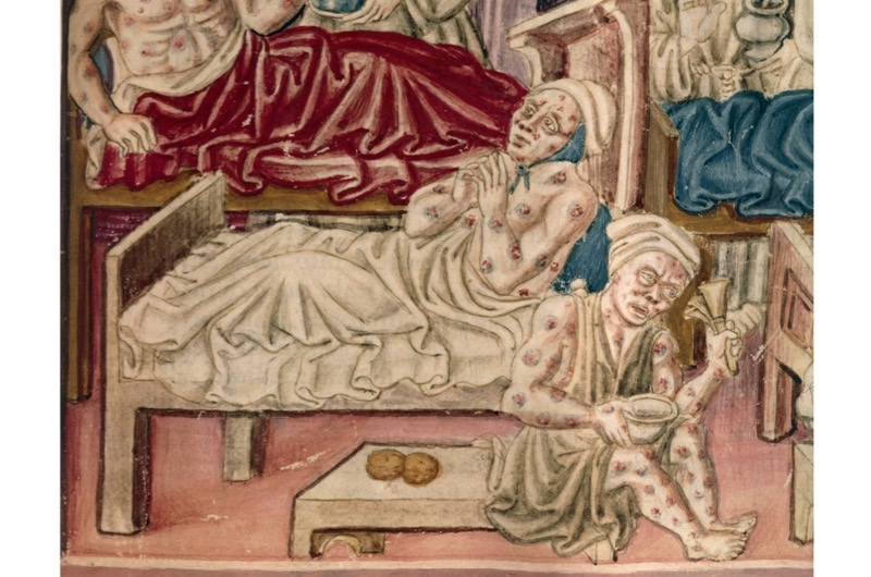 An illumination of plague victims in Perugia, from a manuscript of the vernacular text 'La Franceschina'. (Photo By DEA/A. DAGLI ORTI/De Agostini/Getty Images)