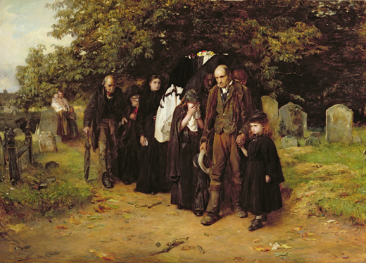 LMG100037 I am the Resurrection and the Life, or The Village Funeral, 1872 (oil on canvas) by Holl, Frank (1845-88); 116.8x162.6 cm; Leeds Museums and Galleries (Leeds Art Gallery) U.K.; English,  out of copyright