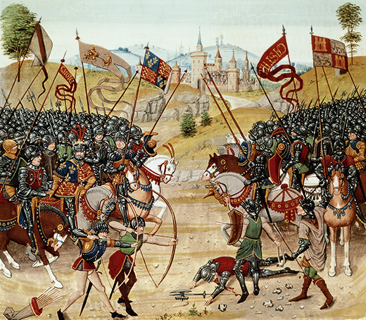 """BAL51337 Fr 2643 f.312v Battle of Najera, 1367, from Froissart's Chronicle (vellum) by French School, (15th century); Bibliotheque Nationale, Paris, France; (add.info.: also known as the Battle of Navarrete, was fought on 3 April 1367 between an Anglo-Gascon army and Franco-Castilian forces near Nájera, in the province of La Rioja, Castile. The English were led by Edward, the Black Prince, and John of Gaunt, Duke of Lancaster (sons of King Edward III of England) allied with Peter of Castile (""""Peter or Pedro the Cruel"""") against his brother Henry of Trastámara (Enrique II).  The English longbowmen prevailed; English defeated French; Hundred Years' War; 100 year war;); French,  out of copyright"""