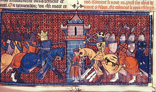 BL239887 Royal 16 G.VI fol.360 The Battle of Gisors in 1197, from Volume I of 'Chroniques de France ou de Saint Denis', 14th century (vellum) by French School, (14th century); British Library, London, UK; (add.info.: battle between the English (lead by Richard Coeur de Lion (1157-99) and the French (lead by King Philip II (1165-1223);); © British Library Board. All Rights Reserved; PERMISSION REQUIRED FOR NON EDITORIAL USAGE; French,  out of copyrightPLEASE NOTE: The Bridgeman Art Library works with the owner of this image to clear permission. If you wish to reproduce this image, please inform us so we can clear permission for you.