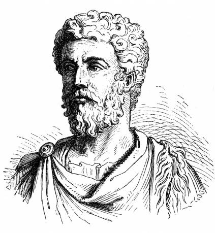19th-century wood engraving of Roman Emperor and philosopher Marcus Aurelius. (INTERFOTO / Alamy)
