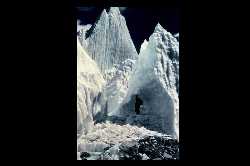 A photograph of Khumbu Icefall, on the ascent to Everest