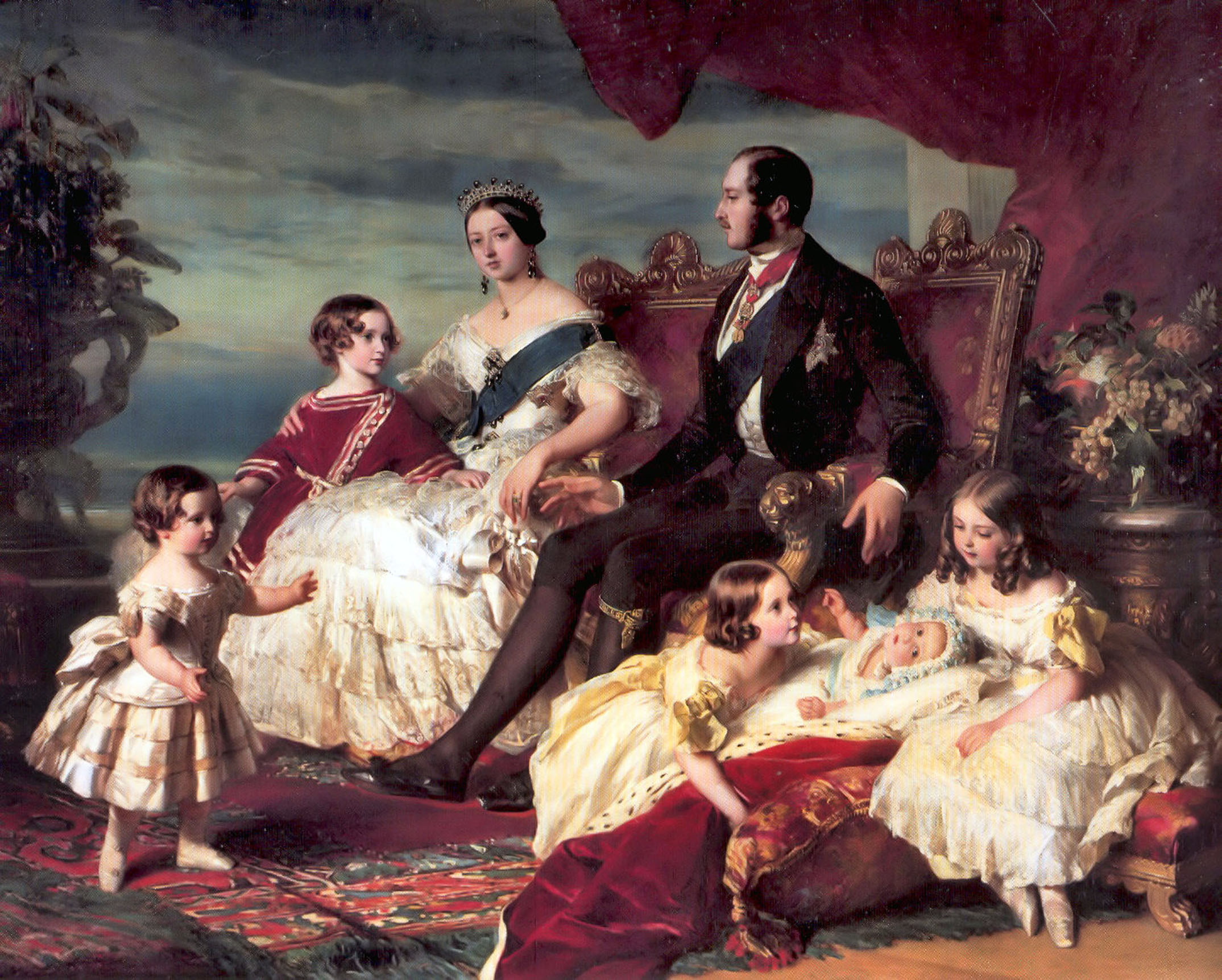 Queen Victoria and Prince Albert surrounded by some of their children at Windsor Castle