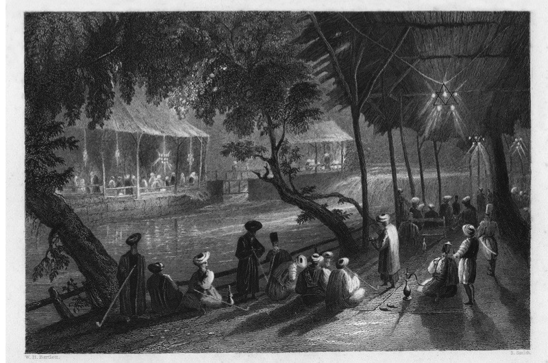 Cafes on a branch of the Barrada River (the ancient Pharpar), Damascus, Syria, 1841. From Syria, the Holy land and Asia Minor, volume I, by John Carne, published by Fisher, Son & Co. (London, 1841). (Photo by The Print Collector/Print Collector/Getty Images)