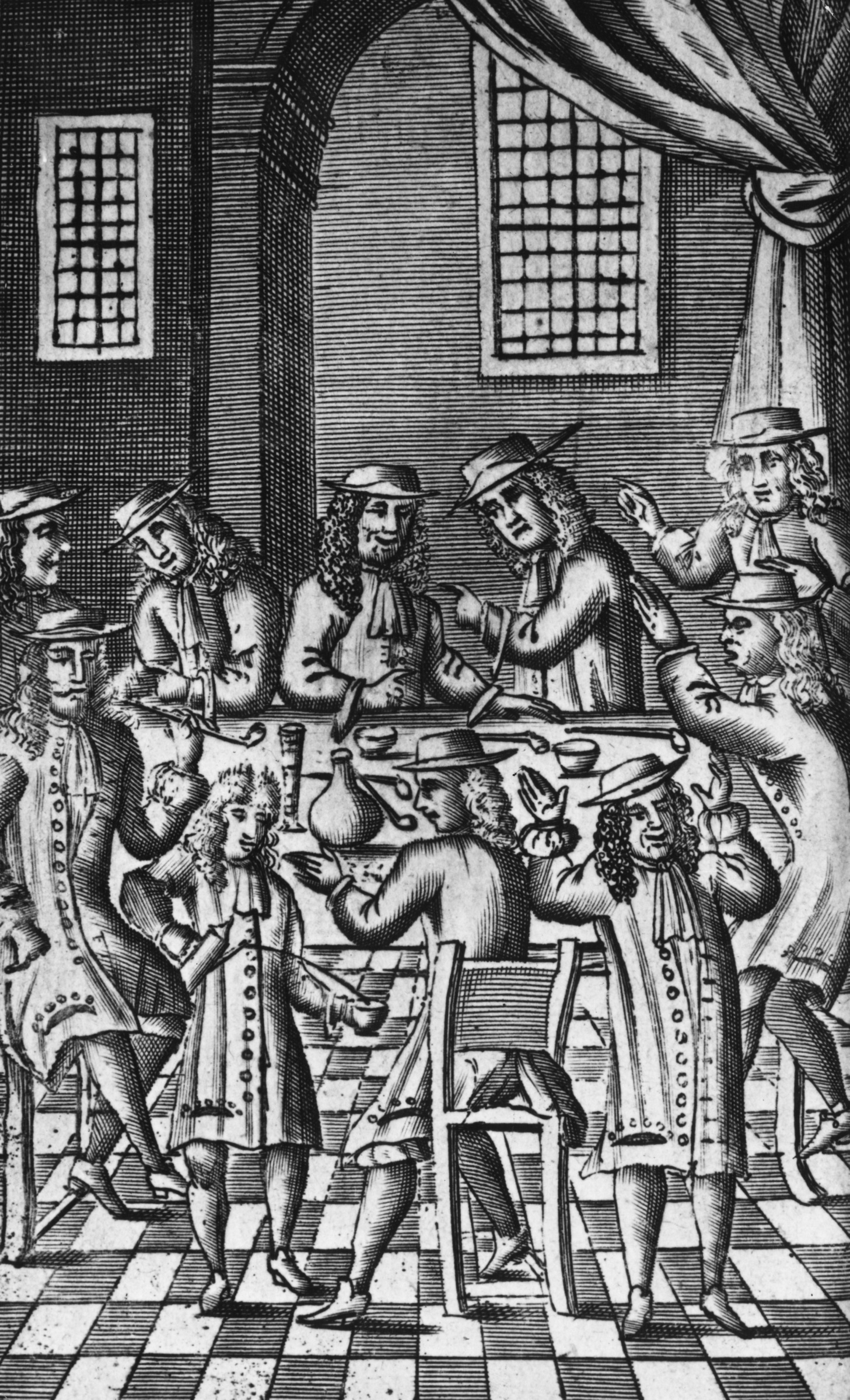 Heated debate in a coffee house on Bride Lane, Fleet Street, London, 1688.