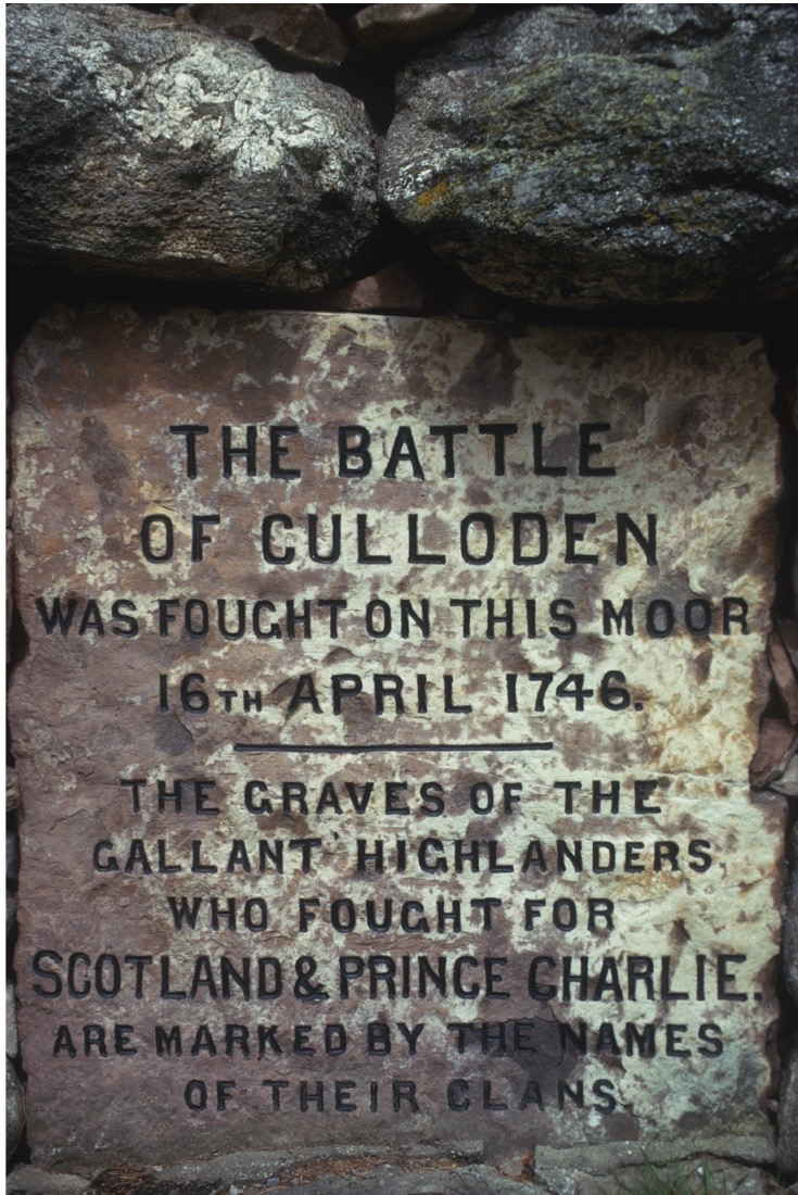 A stone memorial marking the moor where the Battle Of Culloden took place on 16th April 1746, the text reads 'The Battle of Culloden was fought on this moor 16th April 1746 - The graves of the gallant highlanders who fought for Scotland and Prince Charlie are marked by the names of their clans' Culloden, June 1974. (Photo by RDImages/Epics/Getty Images)