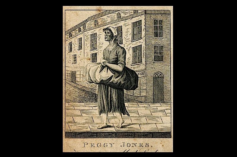 Drawing of a woman from Pierce Egan's 'London Life of 1821'.