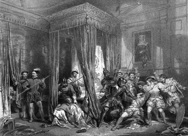 David Rizzio's murder: Rizzio was stabbed to death - reportedly 56 times - in Mary's private apartments on 9 March 1566