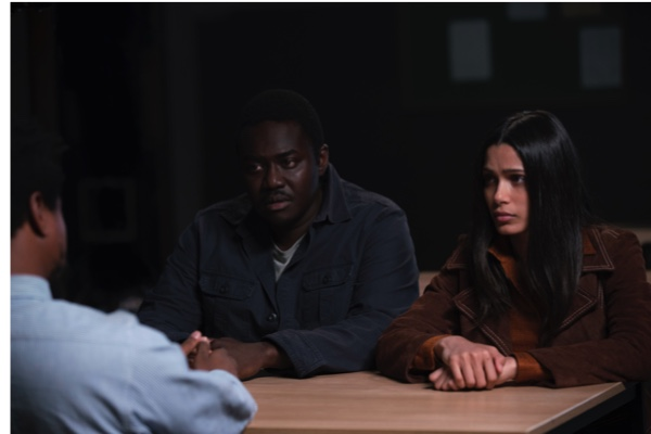 Guerrilla, Series 01 Episode 01, Starring Freida Pinto as Jas Mitra, Babou Ceesay as Marcus Hill & Nathaniel Martello-White as Dhari Bishop © Sky UK Limited.