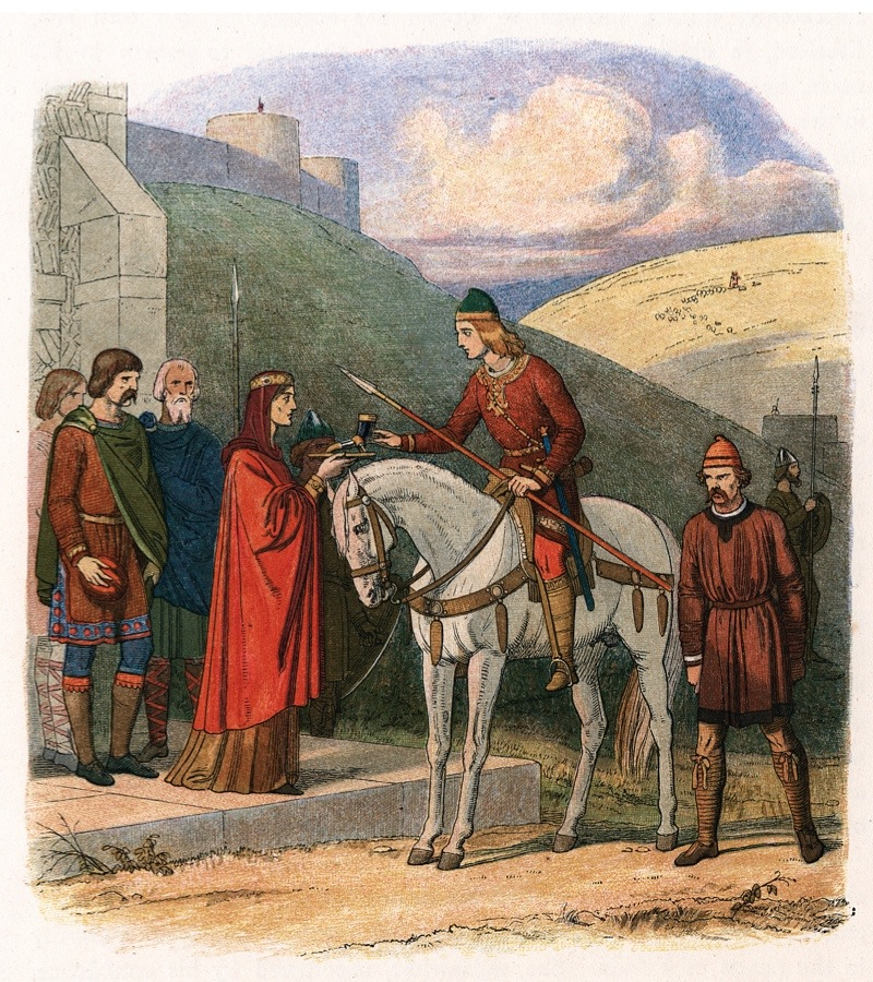 Edward the Martyr, 10th century English king, c1860. Edward (Eadward), king from 975, being offered a poisoned drink by his stepmother Aelfthryth at her home at Corfe Castle, Dorset. Edward was stabbed in the back and murdered whilst drinking the cup of poisoned mead. Aelfthryth desired her son, Ethelred, to become king. Considered a good Christian, Edward was canonised St Edward the Martyr in 1001. (Photo by Ann Ronan Pictures/Print Collector/Getty Images)