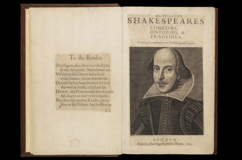 A printed Shakespeare folio