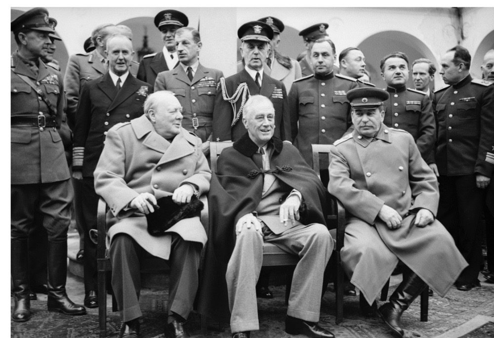 The Yalta ('Big Three') Conference, 1945, Winston Churchill, Franklin D Roosevelt and Jospeh Stalin sit for photographs during the Yalta ('Big Three') Conference in February 1945. (Photo by IWM via Getty Images)