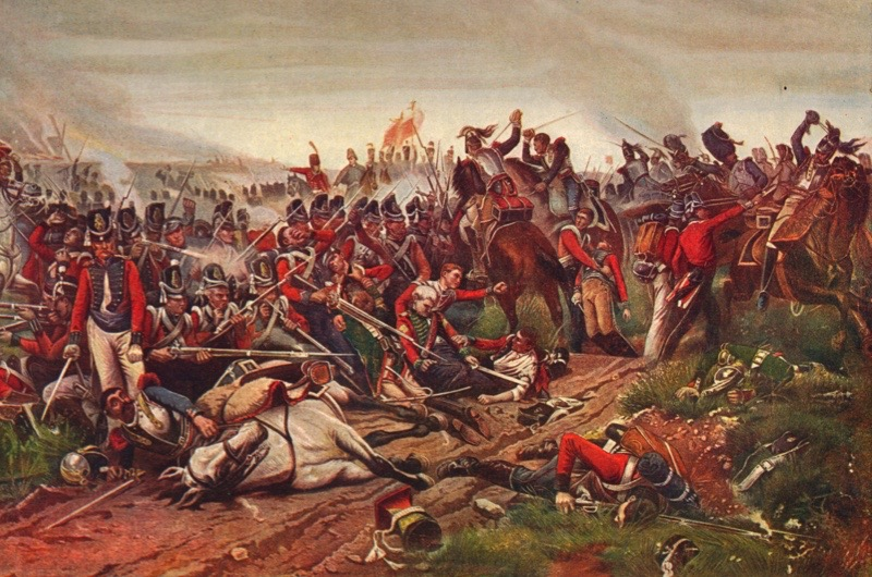French cuirassiers charging a British infantry square at the Battle of Waterloo, 1815 (1906). From Cassell's Illustrated History of England, Vol. V. (Cassell and Company, Limited, London, Paris, New York & Melbourne, 1906). Artist P Jazet.(Photo by The Print Collector/Getty Images)