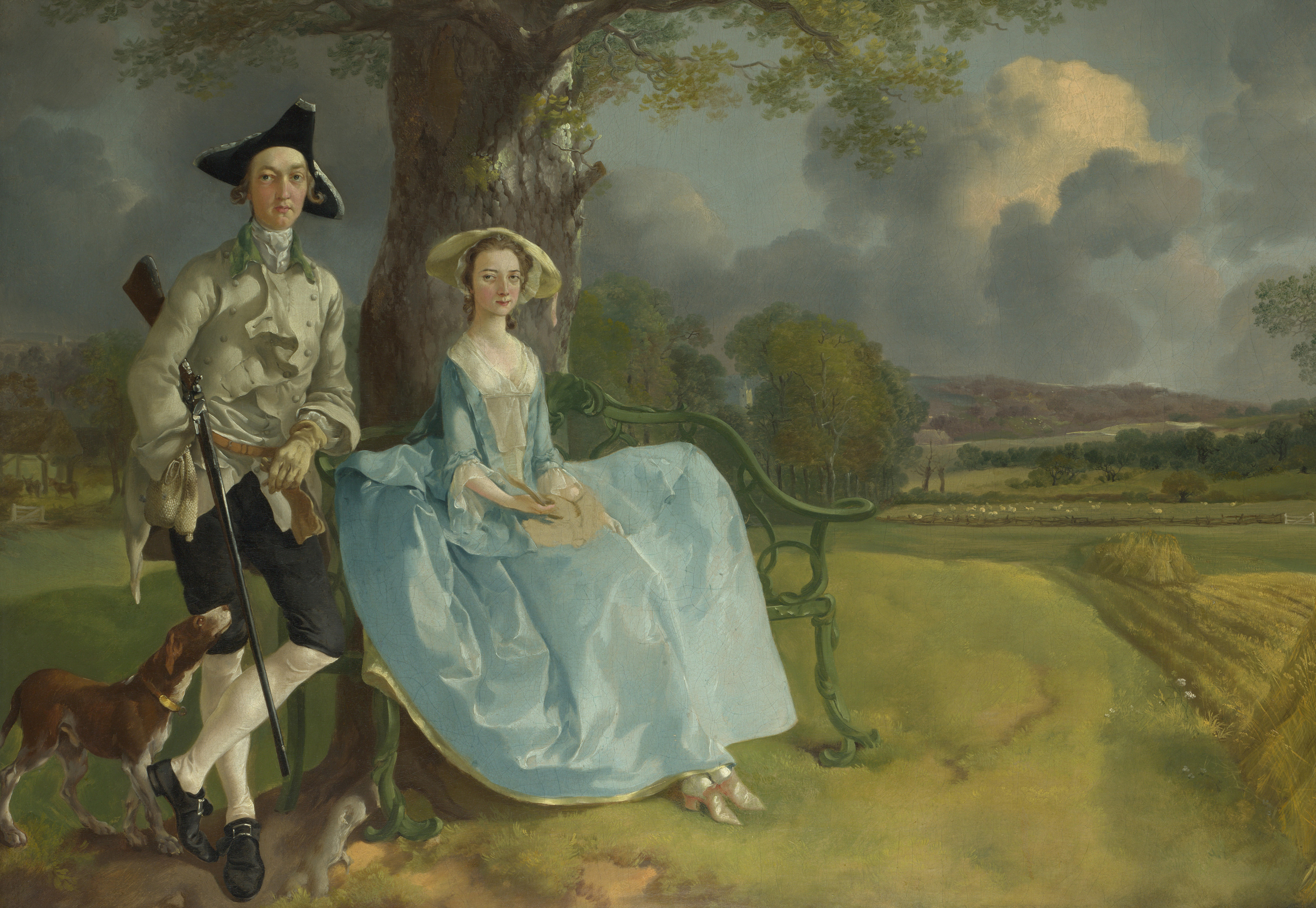 Painting of a couple in the countryside