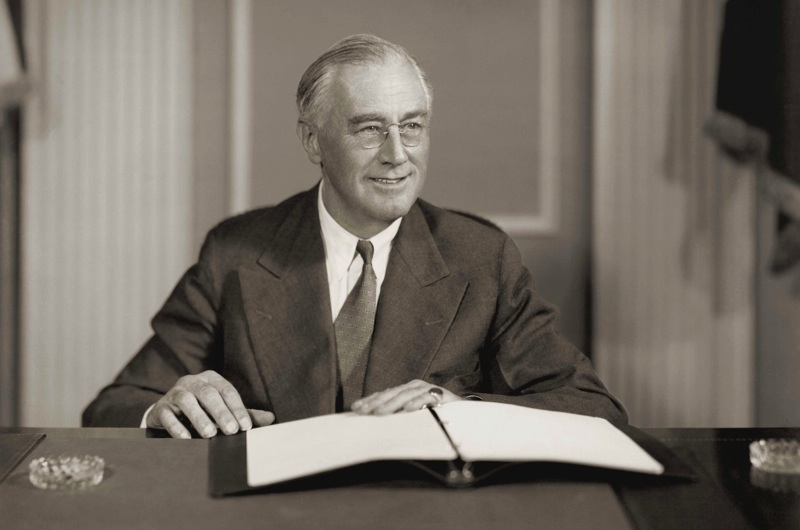 Franklin D. Roosevelt (1882-1945). President of the United States (1933-1945); developed government reforms known as the New Deal; secured establishment of Securities and Exchange Commission (1934), Social Security system (1935). Met with Winston Churchill (1941) to drawup Atlantic Charter, called for declaration of war on Japan (Dec. 1941).