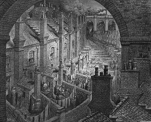 UNSPECIFIED - CIRCA 1754: Over London by Rail' From Gustave Dore and Blanchard Jerrold London: A Pilgrimage London 1872. Back view of typical 19th century London artisan terrace houses with washhouses, privies and yards leading on to alley serving them and similar terraces, all dominated by the railway viaducts superimposed on their neighbourhood. Wood engraving. (Photo by Universal History Archive/Getty Images)