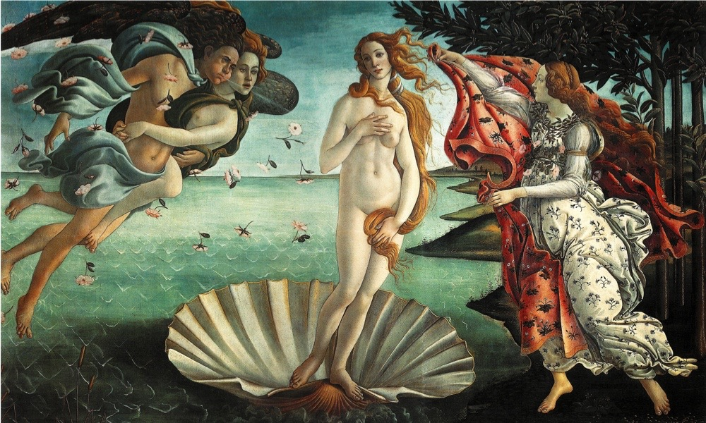 UNSPECIFIED - CIRCA 1754: The Birth of Venus' 1486: painting by the Italian Renaissance painter Sandro Botticelli c. 1445 - 1510. It depicts the goddess Venus, having emerged from the sea as a full grown woman, arriving at the sea-shore. (Photo by Universal History Archive/Getty Images)
