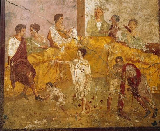 Pompeii fresco depicting Ancient Rome feast scene.
