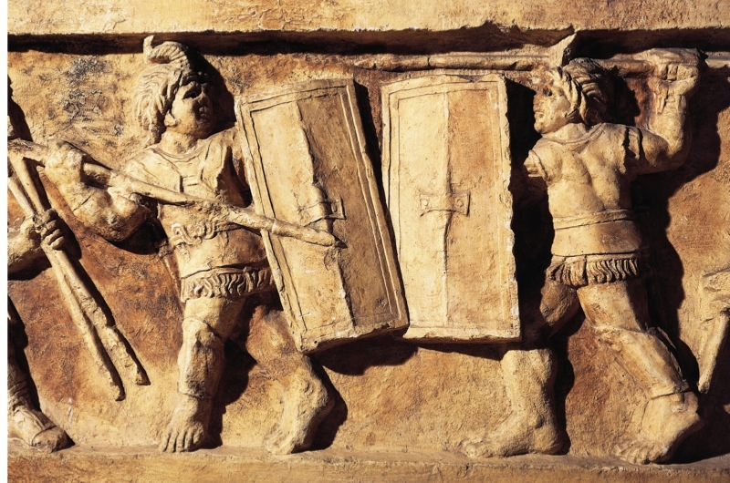 UNSPECIFIED - CIRCA 1900:  Roman civilization, 1st century A.D. Relief portraying a gladiator fight. From Preturo, L'Aquila Province. Detail.  (Photo By DEA / A. DAGLI ORTI/De Agostini/Getty Images)