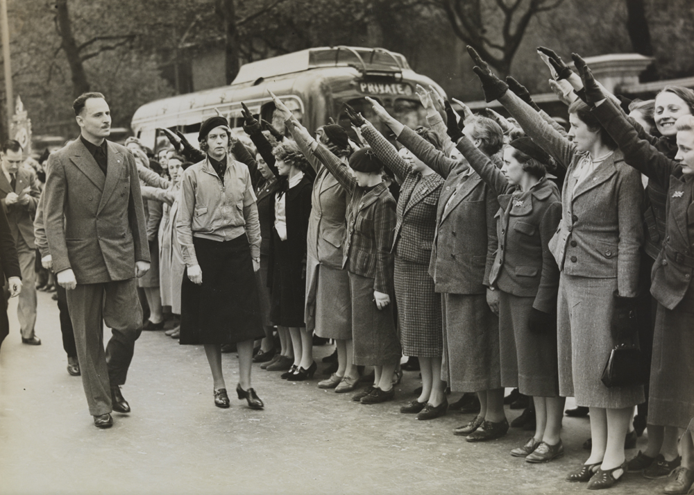 Oswald Mosley inspects women's sections of the British Union of Fascists
