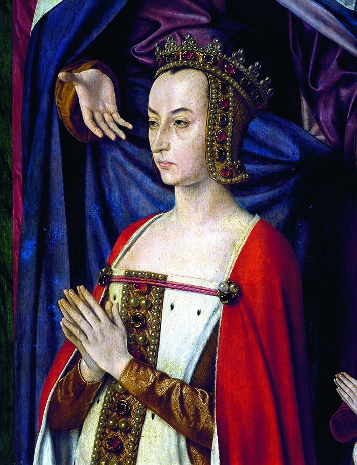 Anne of France or Anne de Beaujeu (Genappe, 1461-Chantelle, 1522), detail of the right leaf of the Triptych of the Virgin in glory, 1498-1499, by Jean Hey or Hay (ca 1475-ca 1505), known as the Master of Moulins, sacristy of the church of Notre-Dame in Moulins, France.