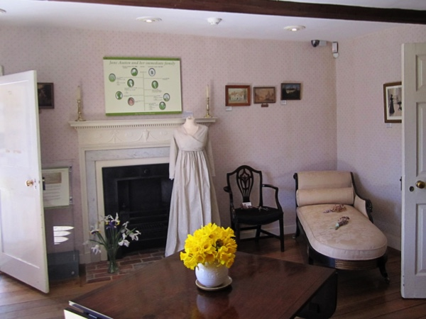 Chawton, England, April 2013 -- The sitting room in Jane Austen's House Museum in Chawton features a morning dress on a mannequin.(Photo by Zofia Smardz/The Washington Post)