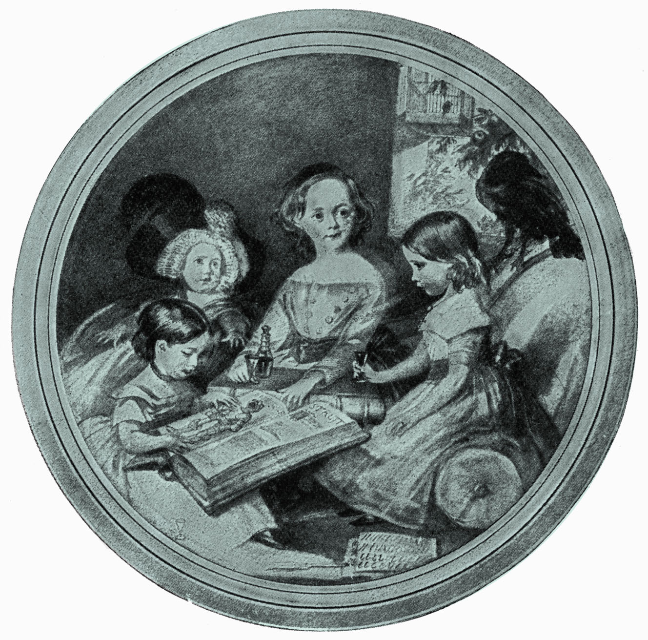 Charles Dickens's children - 1842 Charlie, Mamie, Katie and Wally with Grip the raven. Drawing by Maclise. 7 February 1812 - 9 June 1870. (Photo by Culture Club/Getty Images)