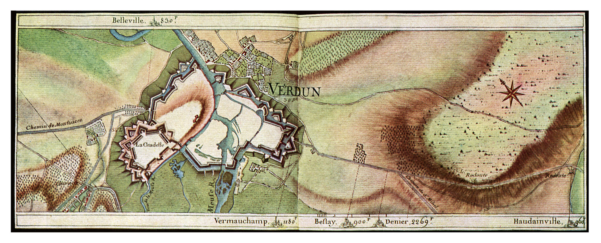 Roadmaps, 18th century France: Verdun and its surroundings in 1755. From collection of maps drawn for King Louis XV by designers from L'Ecole des Ponts-et-Chaussées. (Photo by Culture Club/Getty Images) *** Local Caption ***