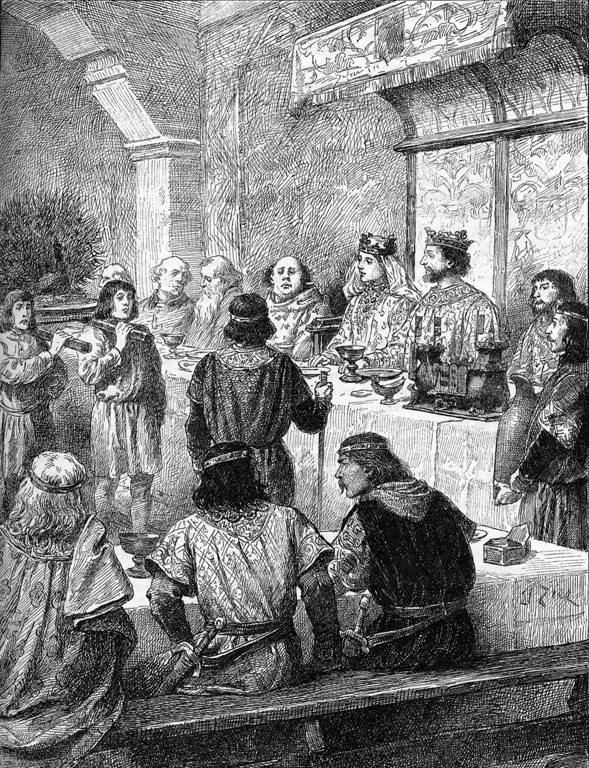 Henry III of England and Eleanor of Provence - marriage banquet. 1236  (Photo by Culture Club/Getty Images) *** Local Caption ***