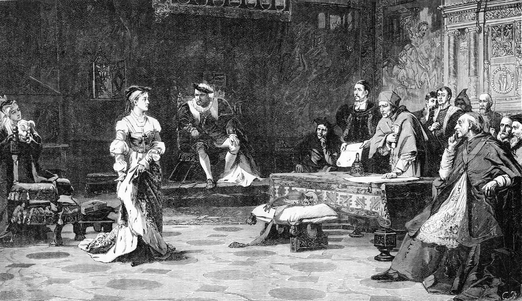 The Trial of Catherine - after painting by Laslett J. Pott.  Catherine of Aragon, first wife of Henry VIII, testifying at the  Legatine Court, at which she defended the legitimacy of her marriage and her position as Queen of England. August 1529. Henry VIII in background, centre.  (Photo by Culture Club/Getty Images) *** Local Caption ***