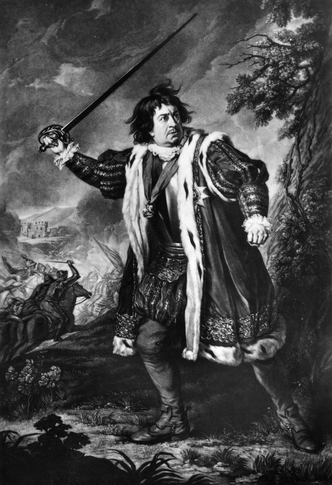 David Garrick as Richard III. From a mezzotint by S.W. Reynolds after N.Dance in the Collection of Mr. Harry R. Beard. DG: English actor and playwright, 1717-1779.  (Photo by Culture Club/Getty Images) *** Local Caption ***