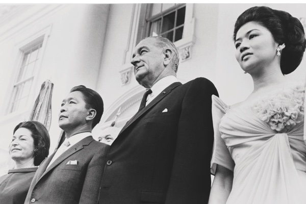 September 14, 1966 - President and Mrs. Lyndon Johnson and President and Mrs. Ferdinand Marcos (Imelda) at the White House.. (Photo by PhotoQuest/Getty Images)