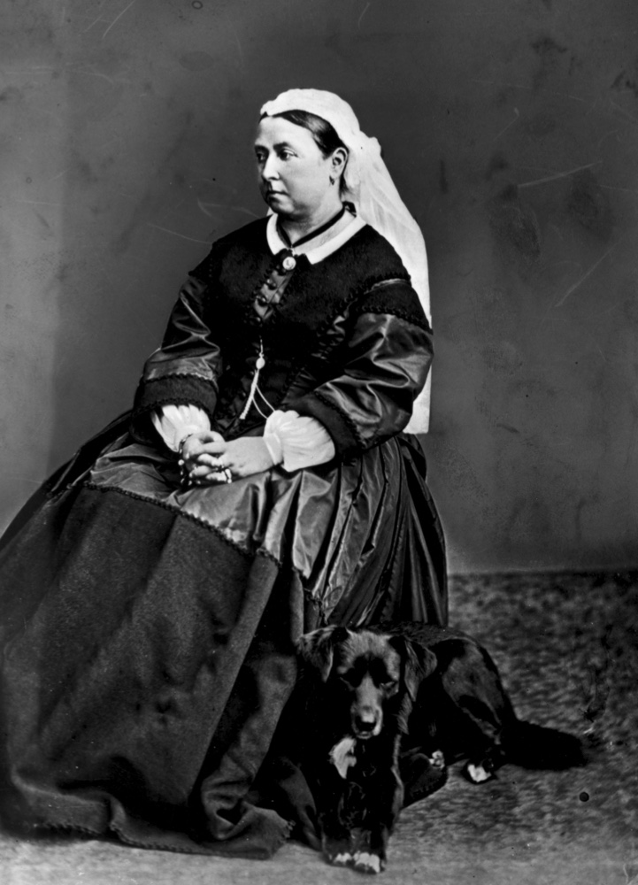 Queen Victoria with her dog Sharp, c1865. (Hulton Archive/Getty Images)