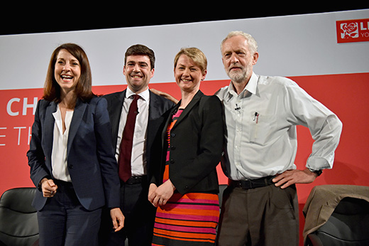 GLASGOW, SCOTLAND - JULY 10:  Labours candidates for Leader  and Deputy Leader  Liz Kendall, Andy Burnham, Yvette Cooper  and Jeremy Corbyn take part in a hustings in The Old Fruitmarket, Candleriggs on July 10, 2015 in Glasgow, Scotland. The four candidates for the Labour Leader ship Andy Burnham, Liz Kendall, Jeremy Corbyn and Yvette Cooper faced questions on a range of issues including immigration, welfare and the economy.  (Photo by Jeff J Mitchell/Getty Images)