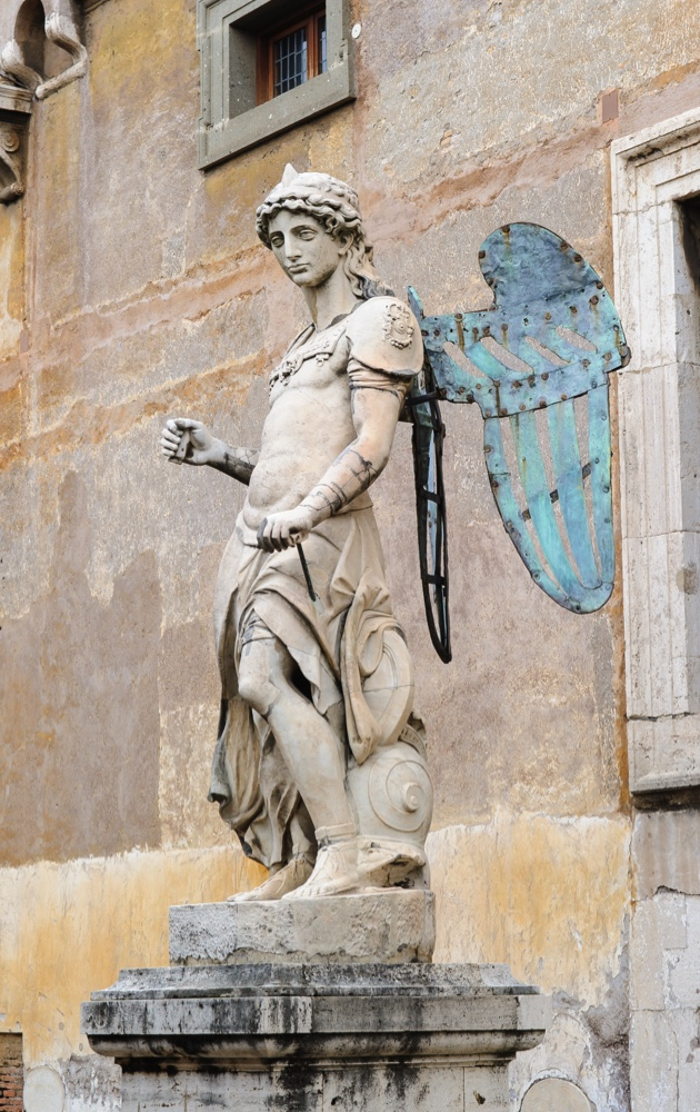 ROME, ITALY - JANUARY 27, 2010: The original archangel of Saint Michael situated in the Castel Sant'Angelo in Rome, Italy. It was sculpted by Raffaello da Montelupo.