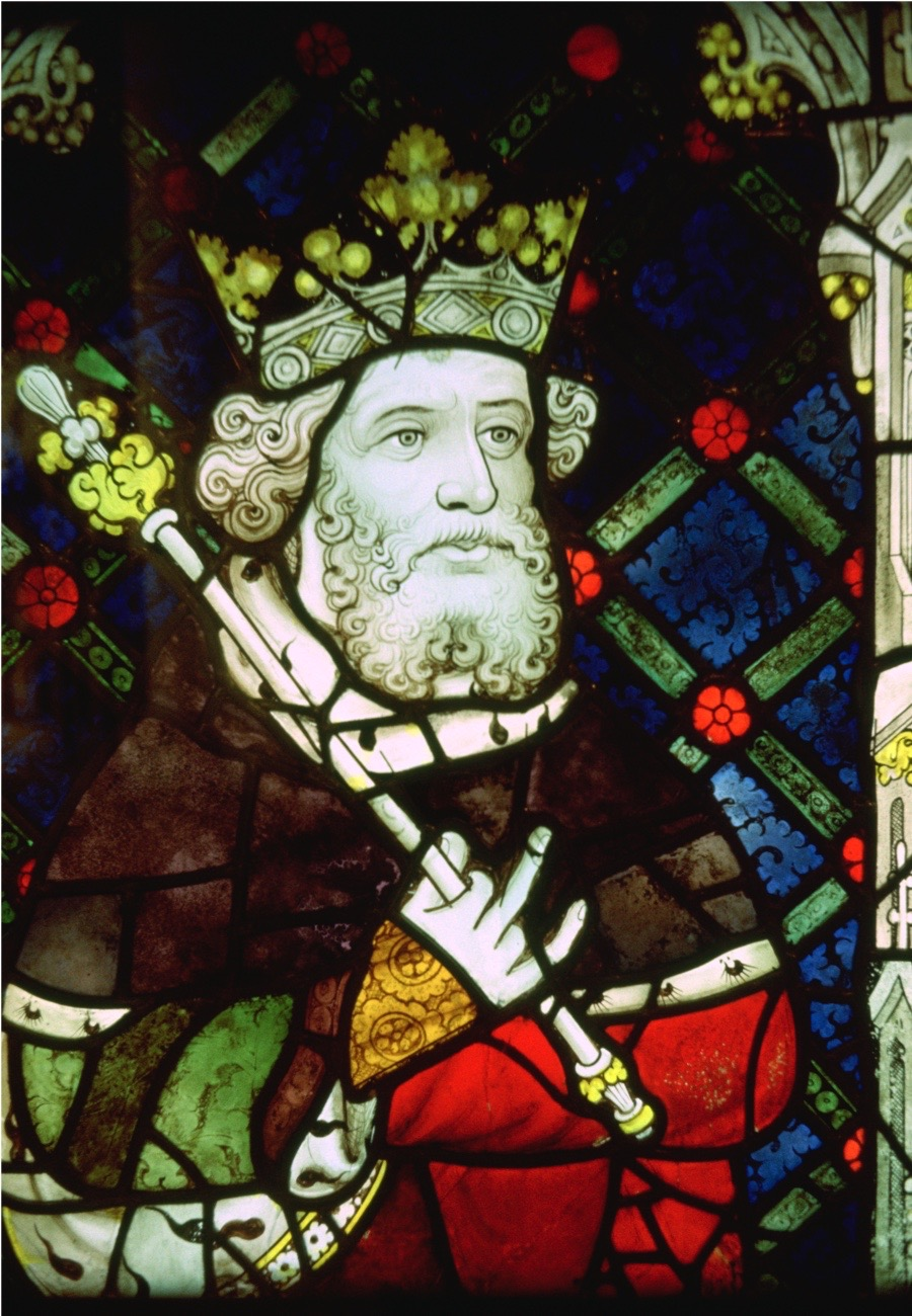 Stained glass image of King Cnut from Canterbury Cathedral. (Photo by CM Dixon/Print Collector/Getty Images)