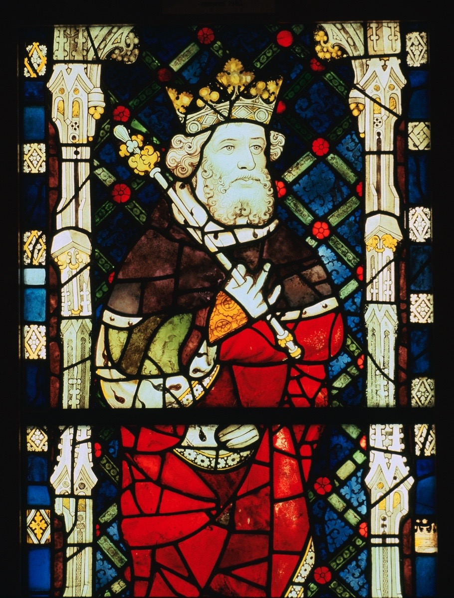 Stained glass window of King Cnut
