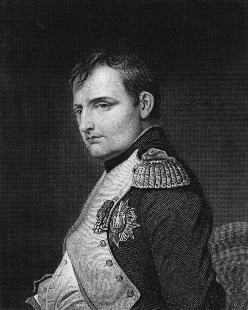 A portrait of Napoleon Bonaparte (1769 - 1821) as Emperor Napoleon 1 of France on 1 June 1815 in Paris, France. An engraving by Samuel Freeman from a painting by Paul Delaroche. (Photo by Hulton Archive/Getty Images)