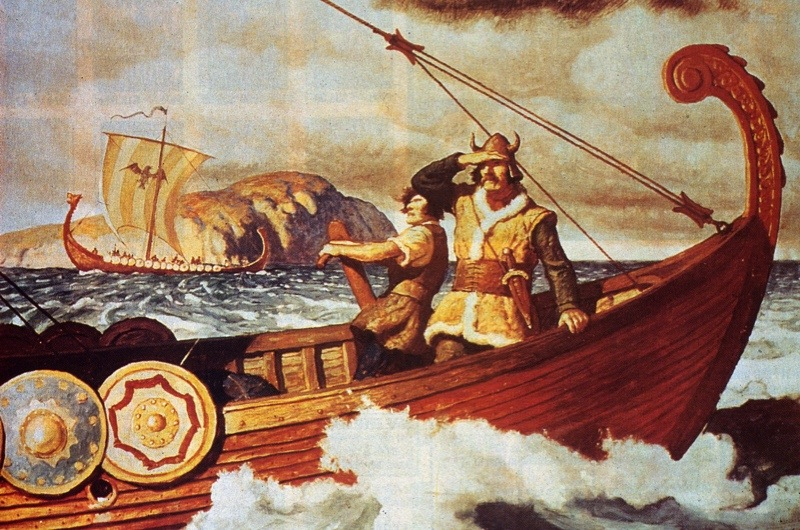 Viking sailors make the long voyage across the Atlantic between Europe and America, in order to bring back timber, circa 1350. The Vikings are thought to have discovered America in around 1000 AD, but never attempted full colonization of the new land, due to the hostile natives. Painting by NC Wyeth. (Image by Hulton Archive/Getty Images)