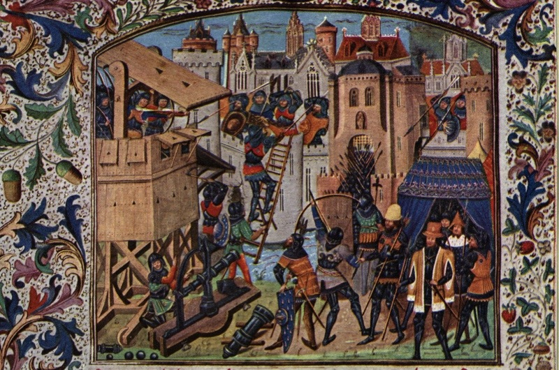 Circa 1400, English troops use siege towers to capture a French town during the Hundred Years' War between England and France. Original Artwork: An illumination from Froissart's Chronicles. (Photo by Rischgitz/Getty Images)