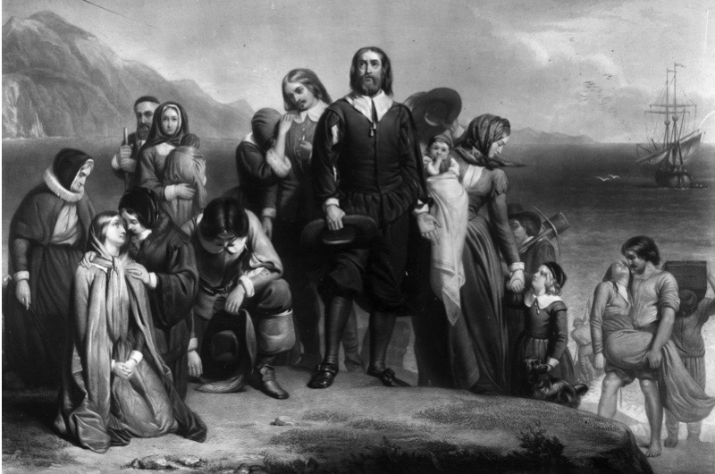 19th November 1620, The Pilgrim Fathers arriving on the Mayflower and landing in New England, where they founded the Plymouth Colony. Original Artwork: Painting by Charles Lucy. (Photo by Three Lions/Getty Images)