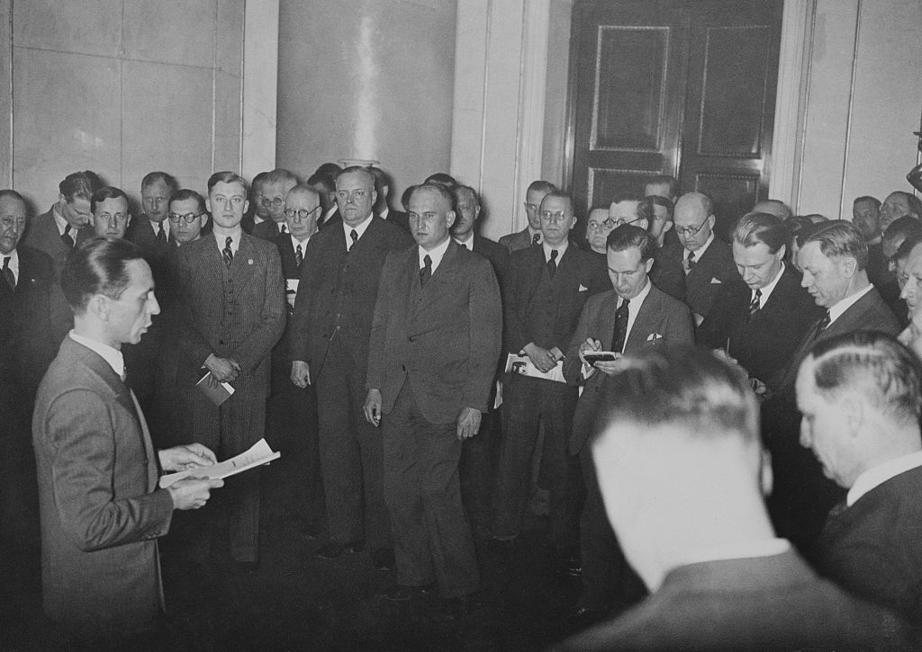 (Original Caption) Goebbels tells the world's press. Berlin, Germany: Dr. Joseph Goebbels, German minister of propaganda, as he made the spectacular announcement to members of the foreign press in Berlin of Germany's decision to conscript soldiers in the future. The momentous announcement sent Europe in a state of nervous apprehension.