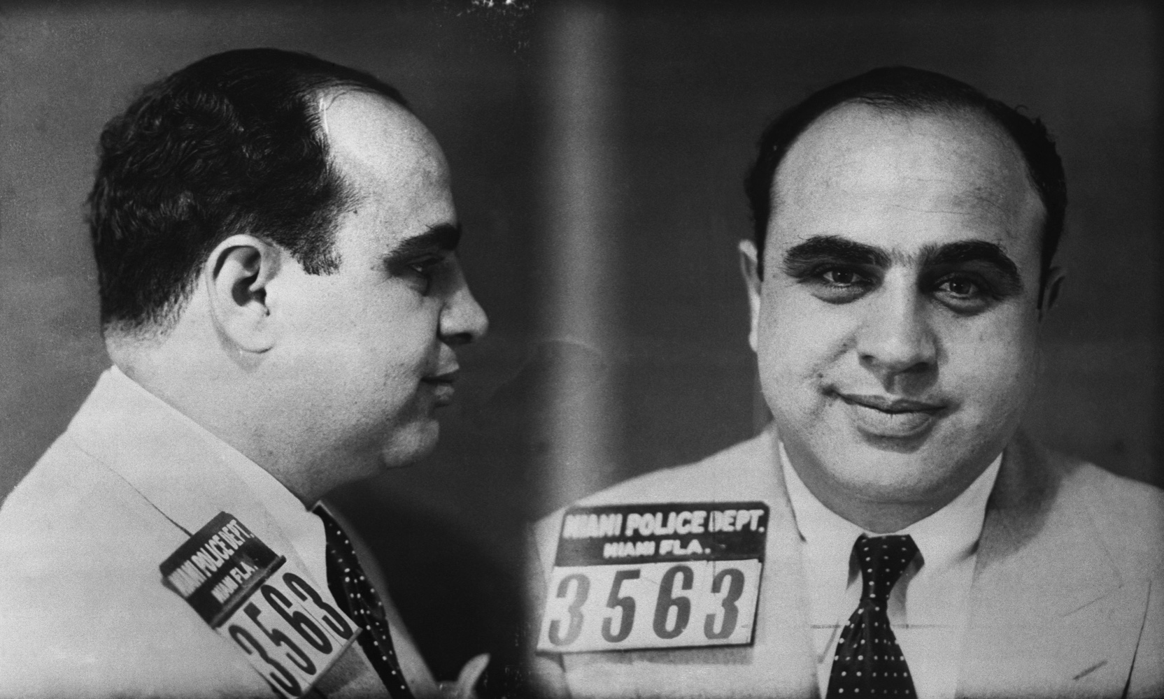 Police mug shot of Chicago mobster Al Capone, one of the leading gangsters of the prohibition era.
