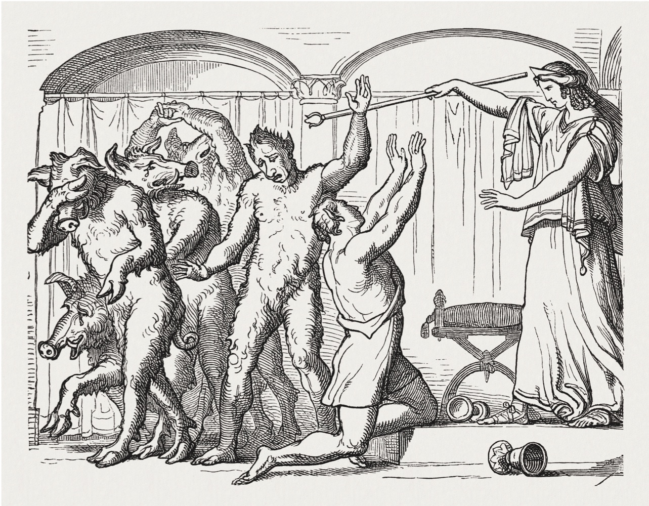 "Circe transforms Odysseus' companions into pigs. Scene from the Greek Mythology. Wood engraving from the book ""Die schönsten Griechischen Sagen aus dem Altertum (The best Greek legends of antiquity)"" published by F. Carl and Hermann Mehl. Printed by Otto Spamer, Leipzig in 1880"